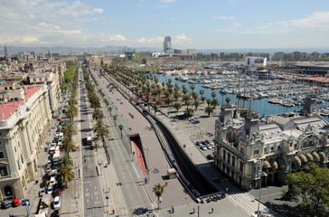 Aerial view of the old port district in Barcelona, Spain