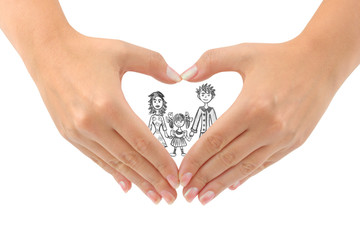 Family and heart made of hands