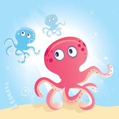 Ocean Octopus. Underwater Octopus. Vector Illustration.