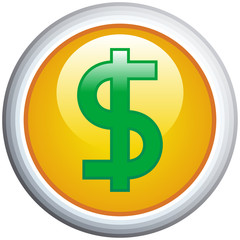 Dollar Sign Glossy Vector Icon