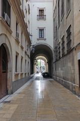 Narrow street in Barcelona, Spain