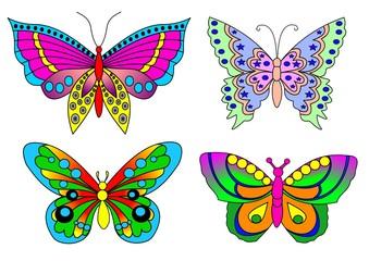 Schmetterling Set in Farbe als Illustration