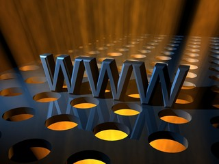 WWW Internet World Wide Web 3D Text with spotlights beneath