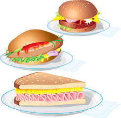 vector image is «fast food». The food on the plate.