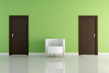 one armchair and two door -rendering
