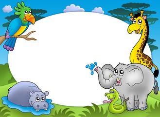 Foto auf Leinwand Waldtiere Round frame with African animals