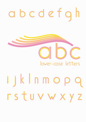Alphabet five colors. Lower case letters.