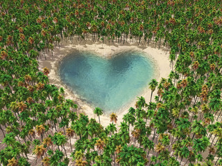 heart-shaped lake in the middle of tropical paradise