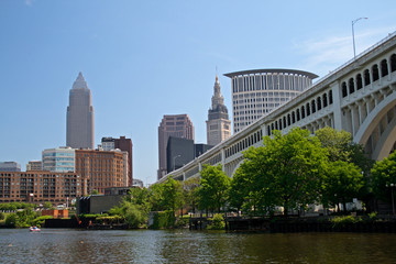 Downtown Cleveland Ohio with bridge view