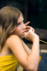 Portrait beautiful sad girl think about it