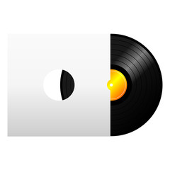 Vinyl record with blank cover over white background