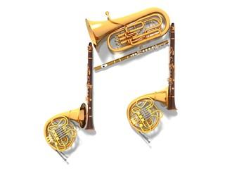 オーケストラの楽器で音符(CG)