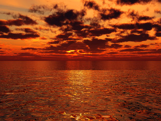 beautiful orange sunset above the surface of tropical sea