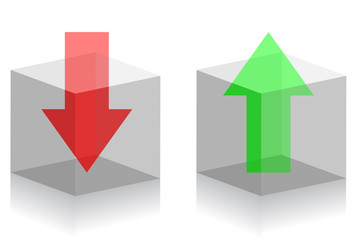 Arrows in transparent boxes