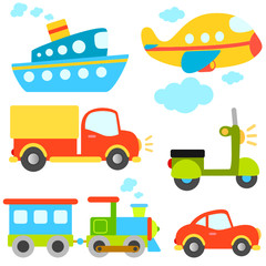 cartoon vehicles vector