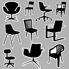 chair icons vector
