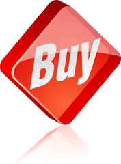 Buy glass button. Vector illustration.