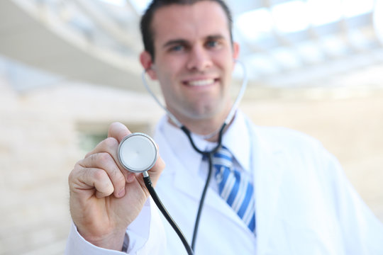 Doctor at Hospital with Stethoscope