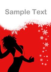 Flyer für Veranstaltungen mit Frau und Schneeflocken