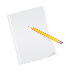 yellow pencil on white sheet of paper