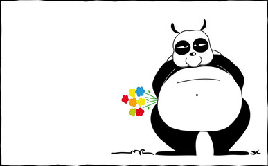 panda con fiori