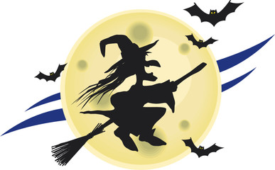 Flying witch on broomstick with some bats and a big moon