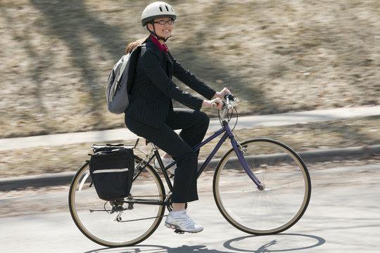 Businesswoman Biking to work