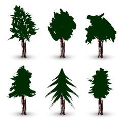 vector grunge trees