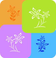 set of flower pattern  on different colour tile