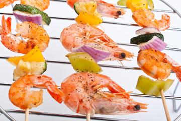 vegetable and shrimp kebabs