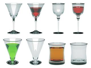 Glass set illustration 3d