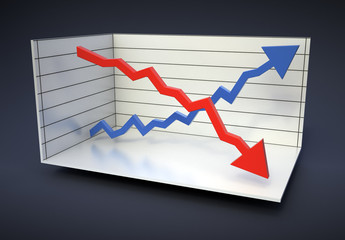 Red and blue graphs - statistics tools illustration