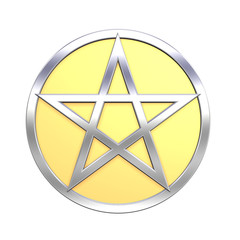 Silver Pentagram isolated on white.