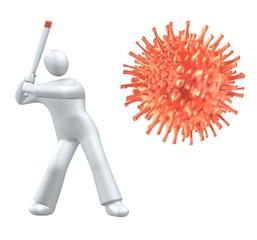 Hit the virus with baseball bat - metaphor