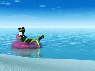 Cool cartoon gecko eating ice cream while floating on a bathing