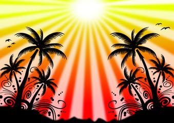 Südessinseln mit Sonne im Hintergrund