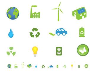 Environment friendly ecological icon set