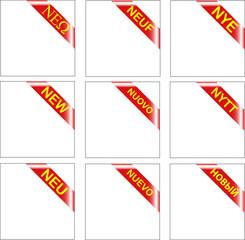 New Multilingual red corner ribbon