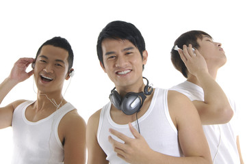 Asian three young man feeling the music