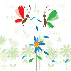 War of the flower, funny insects