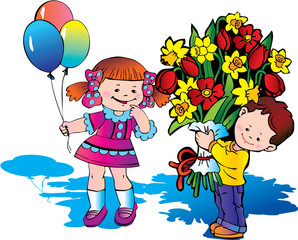 Glad children with big bouquet of flowers. Happy childhood.