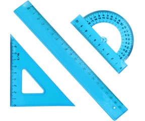 set of measurement instrument- protractor, ruler