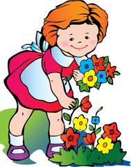 Fine little girl gather flowers. Happy childhood