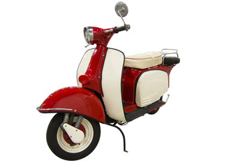 Vintage red and white scooter (path included)