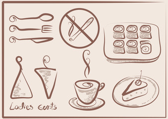 collection of signs for cafe