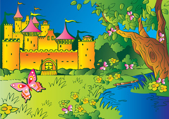 Printed roller blinds Castle Fairy tale castle