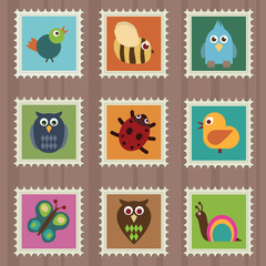 collection of stamps with wildlife designs