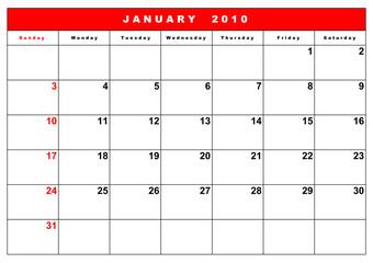English calendar 9
