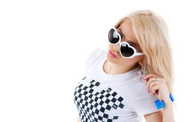 Pretty blonde woman with sun glasses