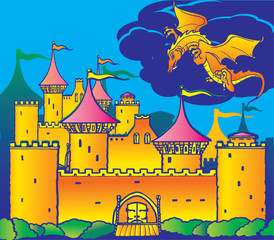 Poster Castle Magic castle and dragon